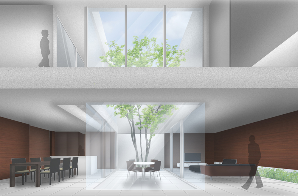 HOUSE WITH A COURTYARD FOSTER FOUR SEASONS: Image drawing